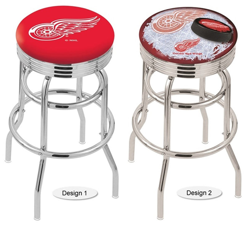 Detroit Red Wings NHL Retro Chrome Ribbed Ring Bar Stool