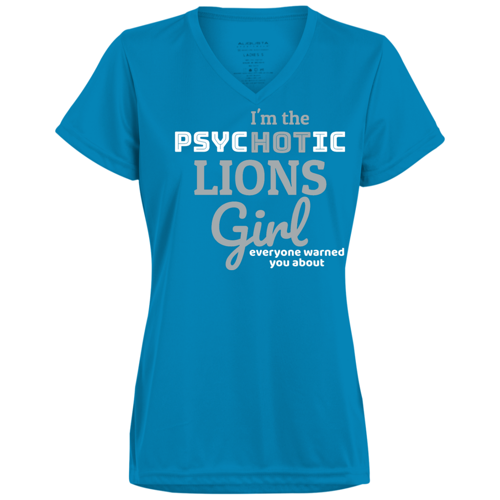 Ladies Psychotic Blue Lions Wicking T-Shirt