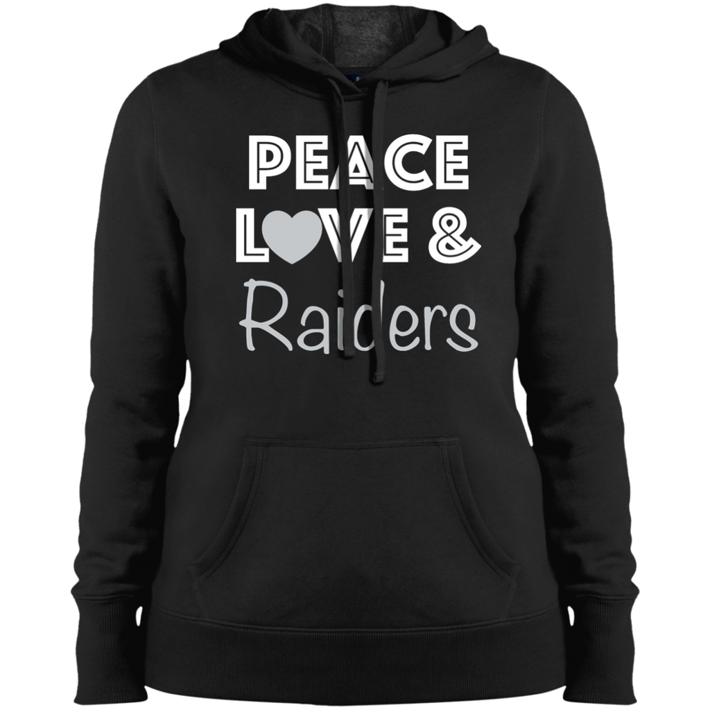 Ladies Black Peace Love Raiders Pullover Hooded Sweatshirt
