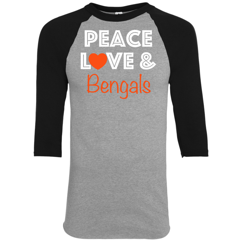 Ladies Peace Love Black Bengals Colorblock Raglan Jersey