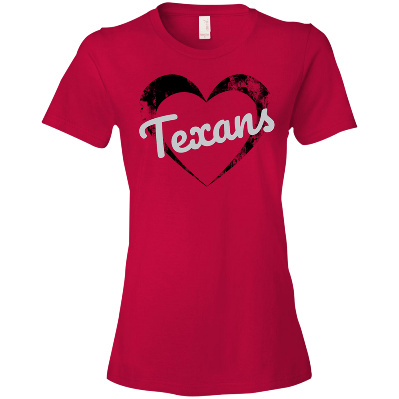 Ladies Red Texans Heart T-Shirt