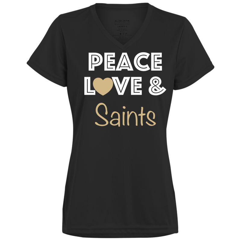 Ladies Peace Love Black Saints Wicking T-Shirt