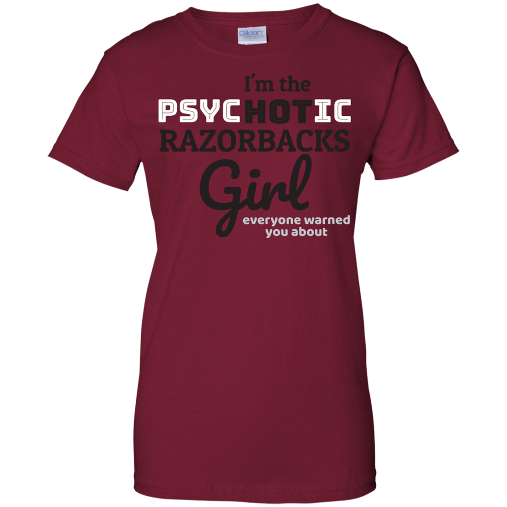 Ladies Red Psychotic Razorbacks Cotton T-Shirt