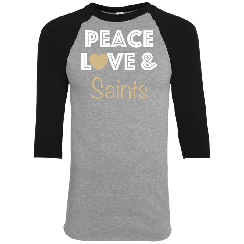 Ladies Peace Love Black Saints Raglan Jersey