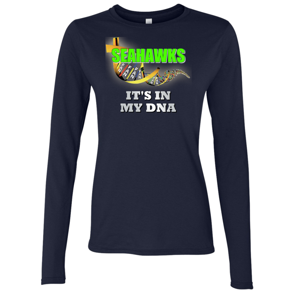 Ladies DNA Navy Seahawks LS T-Shirt