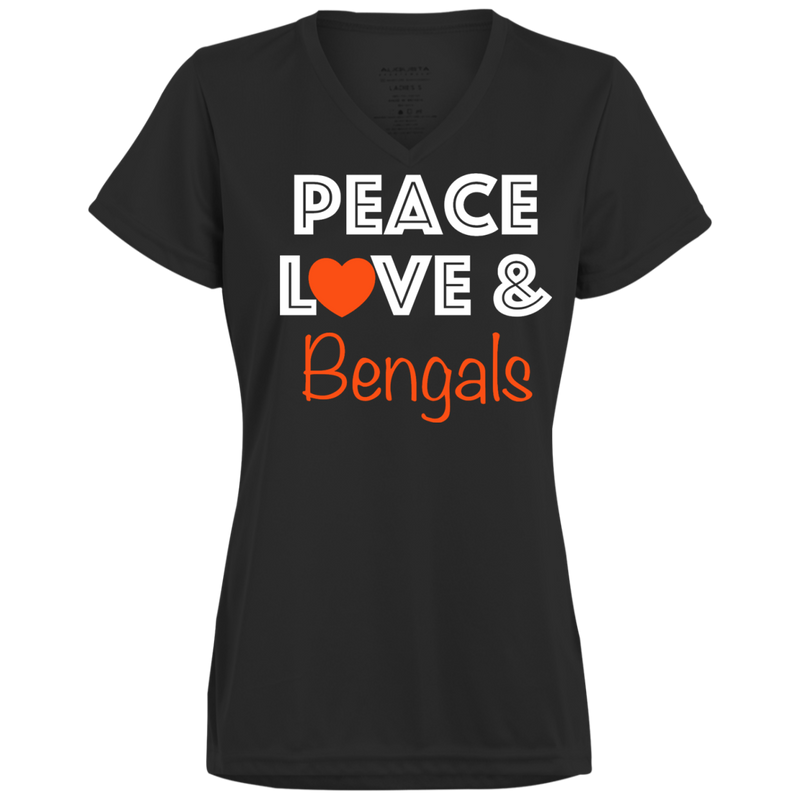 Ladies Peace Love Black Bengals Wicking T-Shirt