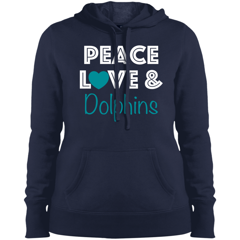 Ladies Navy Peace Love Dolphins Pullover Hooded Sweatshirt