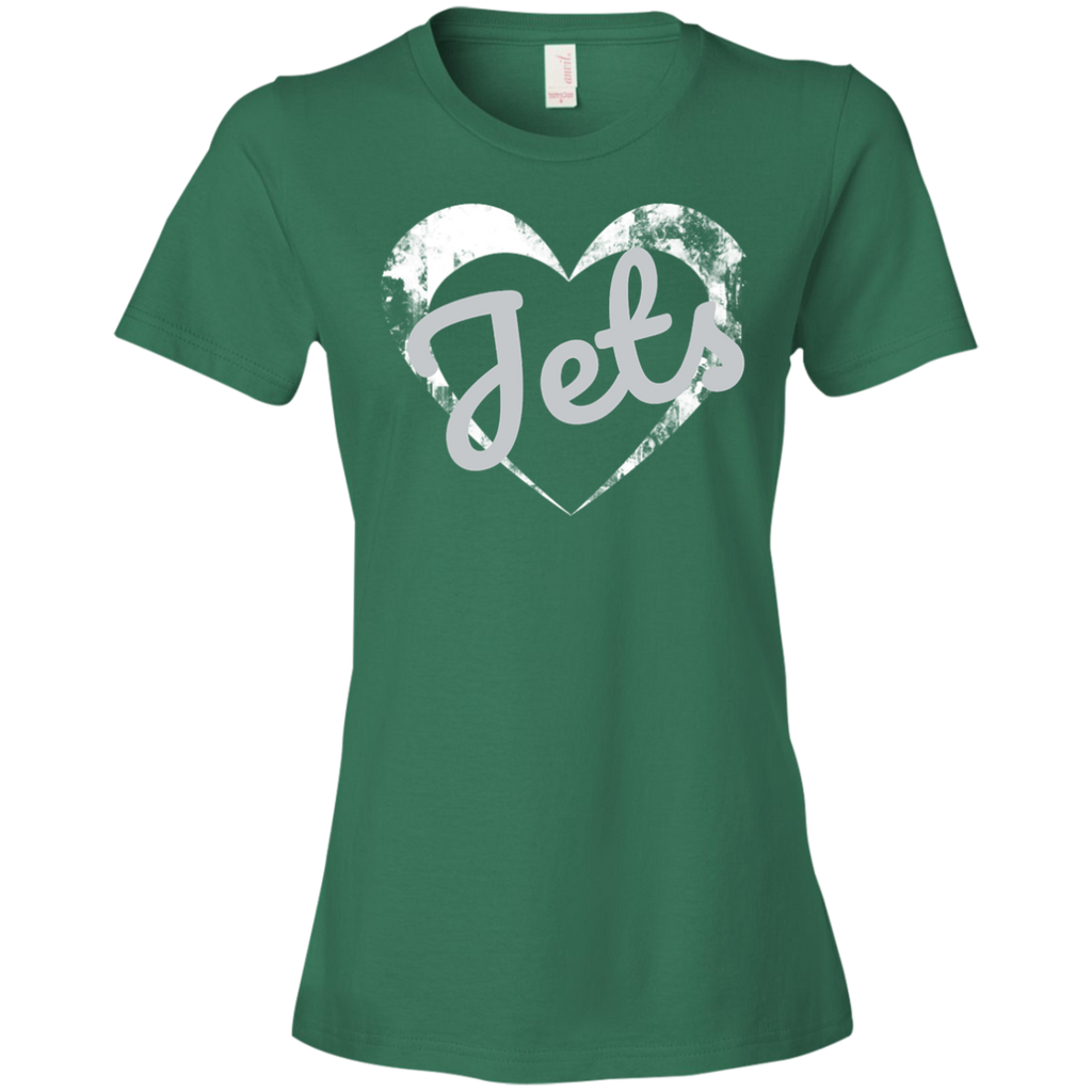 Ladies Green Jets Heart T-Shirt