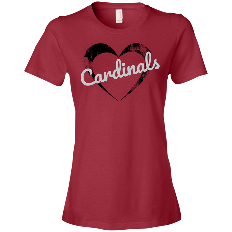 Ladies Red Cardinals Heart T-Shirt