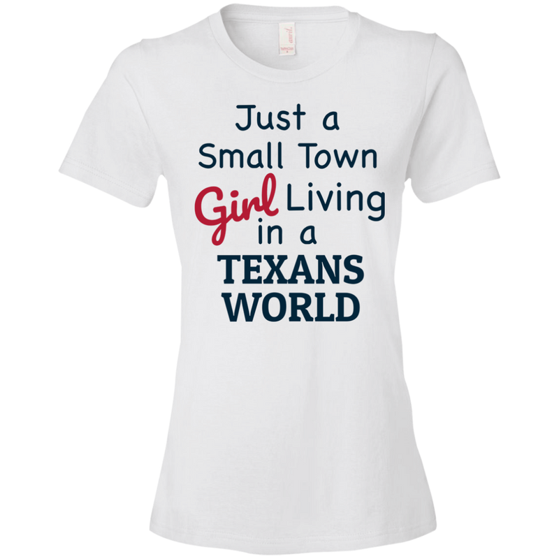 Ladies White Texans Small Town T-Shirt