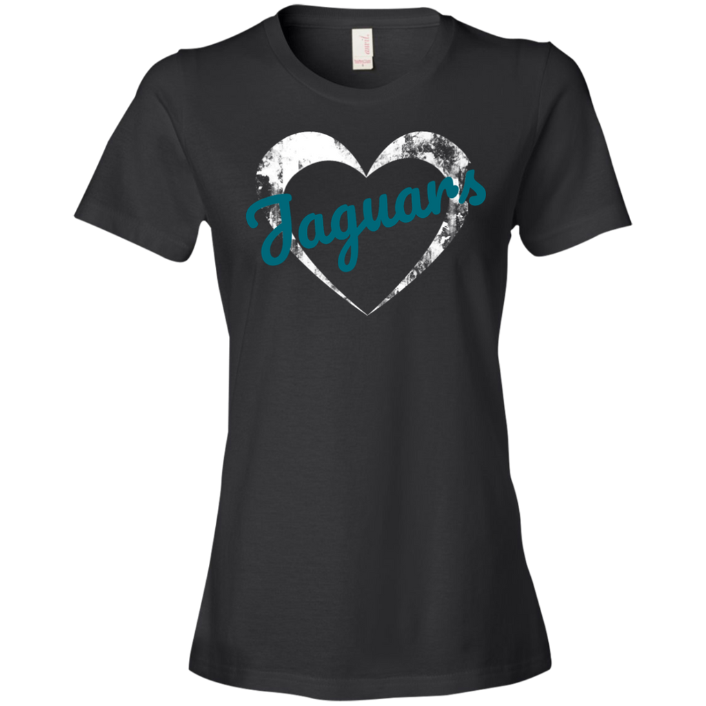 Ladies Black Jaguars Heart T-Shirt