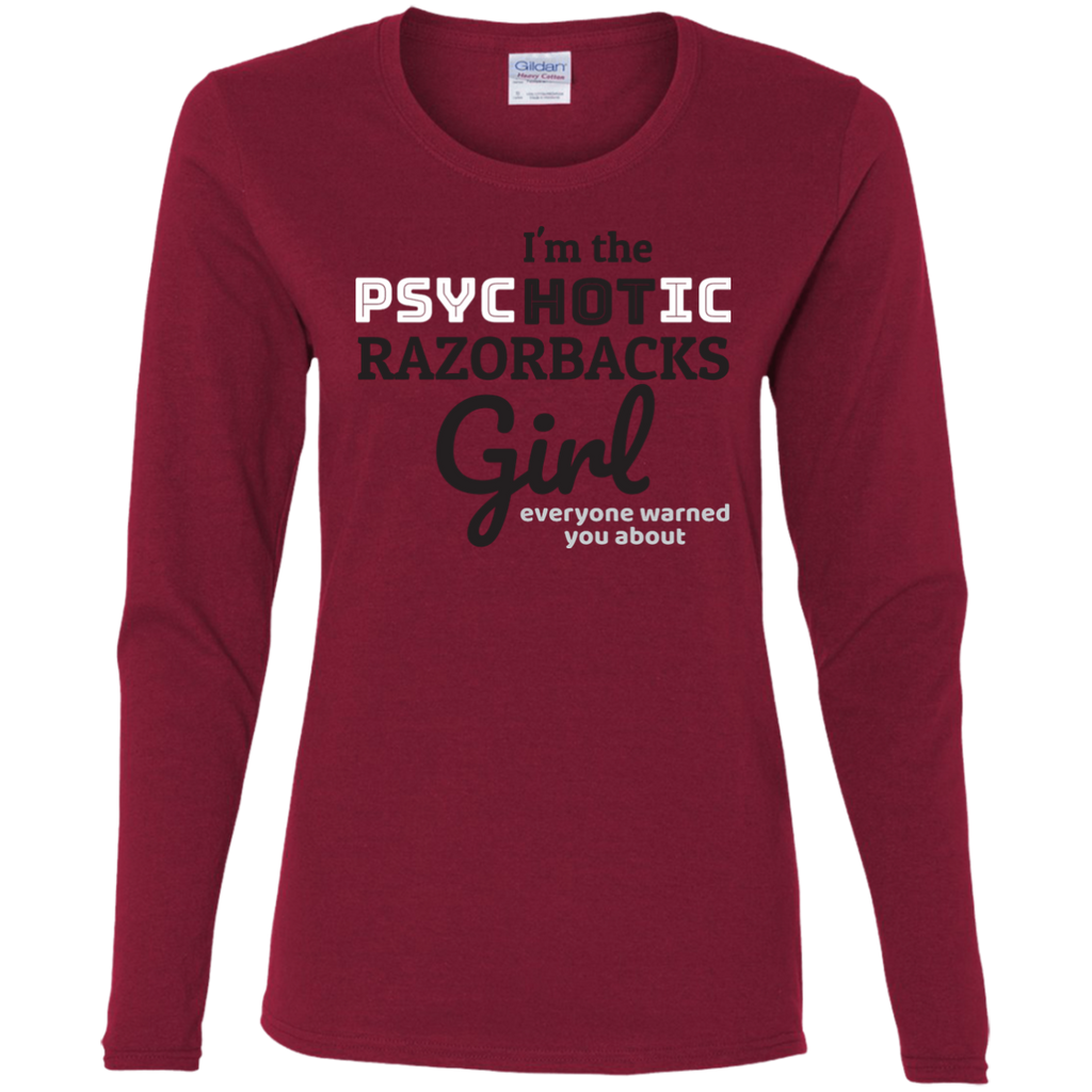Ladies Red Psychotic Razorbacks Cotton LS T-Shirt