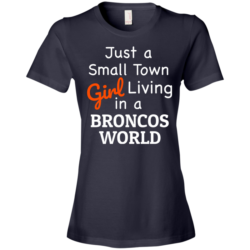 Ladies Navy Broncos Small Town T-Shirt