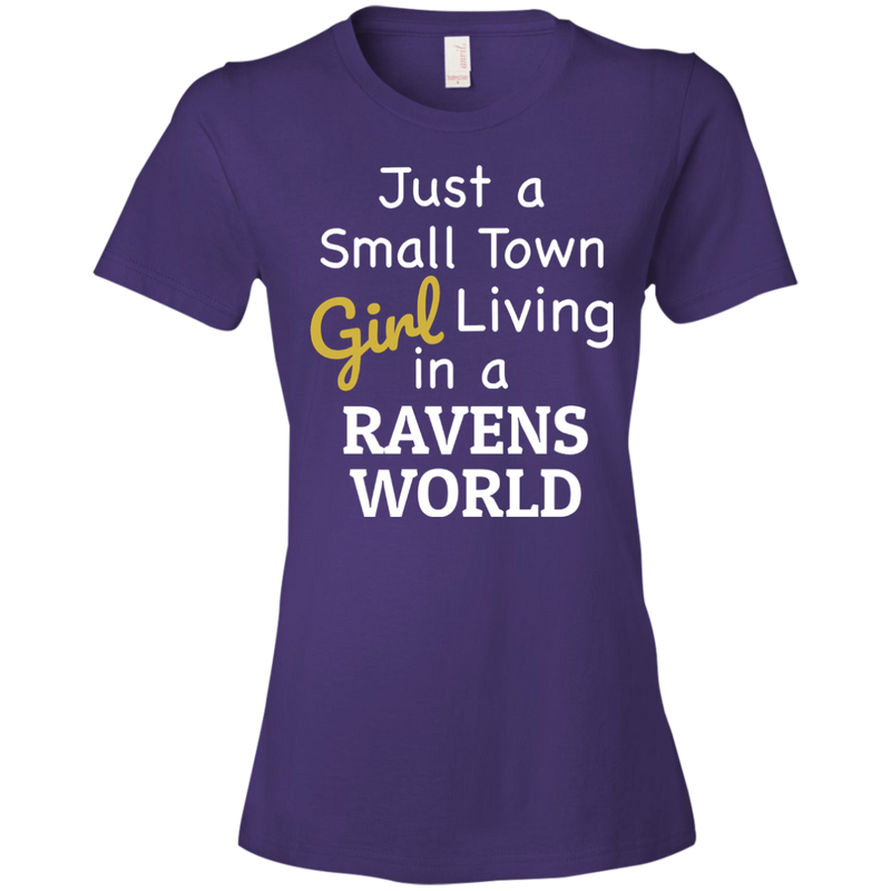 Ladies Purple Ravens Small Town T-Shirt