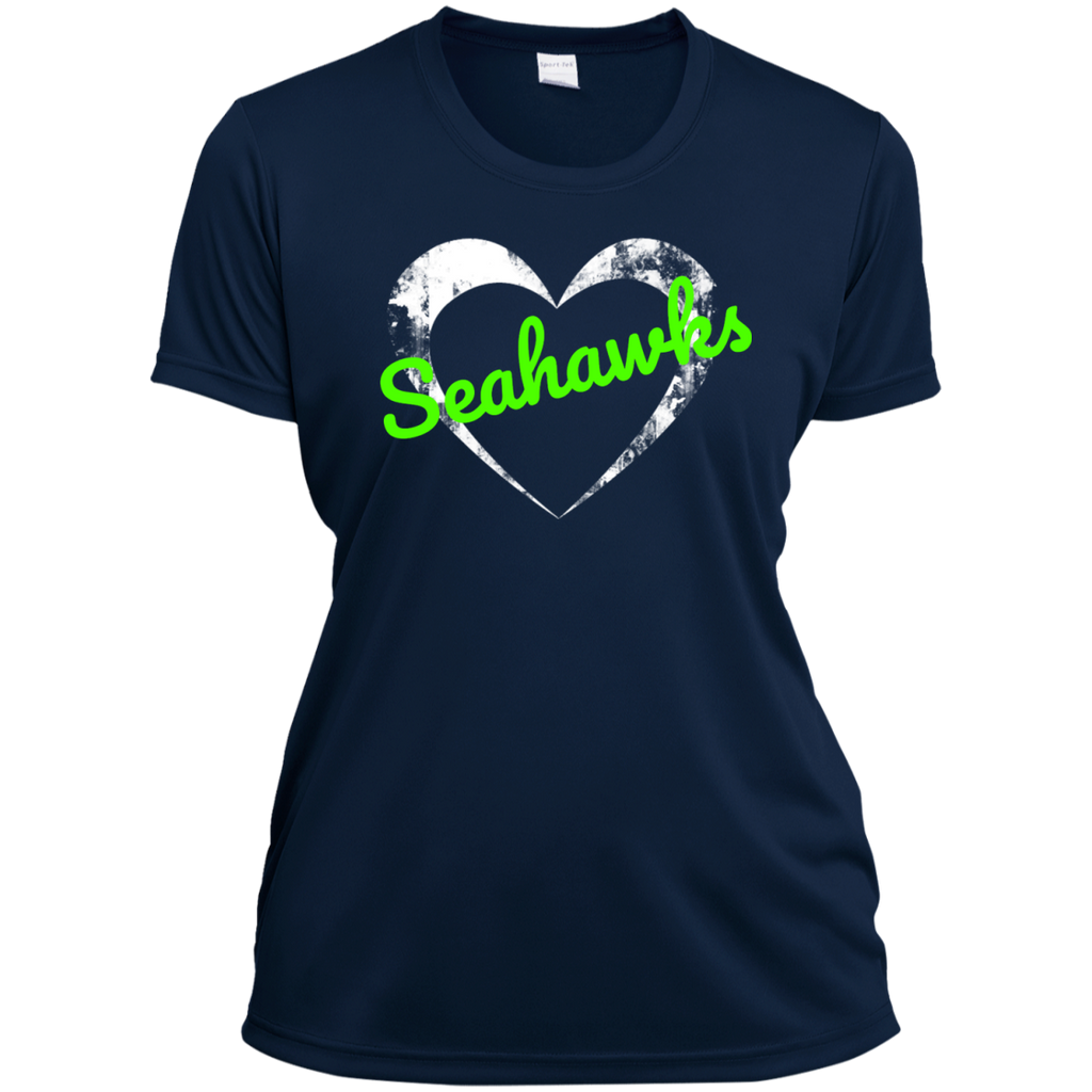 Ladies Heart Navy Seahawks Wicking T-Shirt