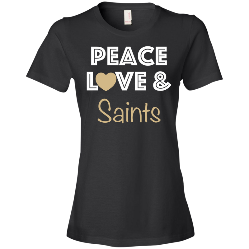 Ladies Peace Love Black Saints Lightweight T-Shirt