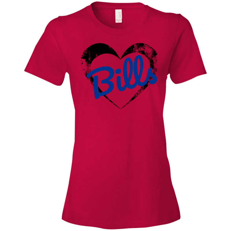 Ladies Red Bills Heart T-Shirt