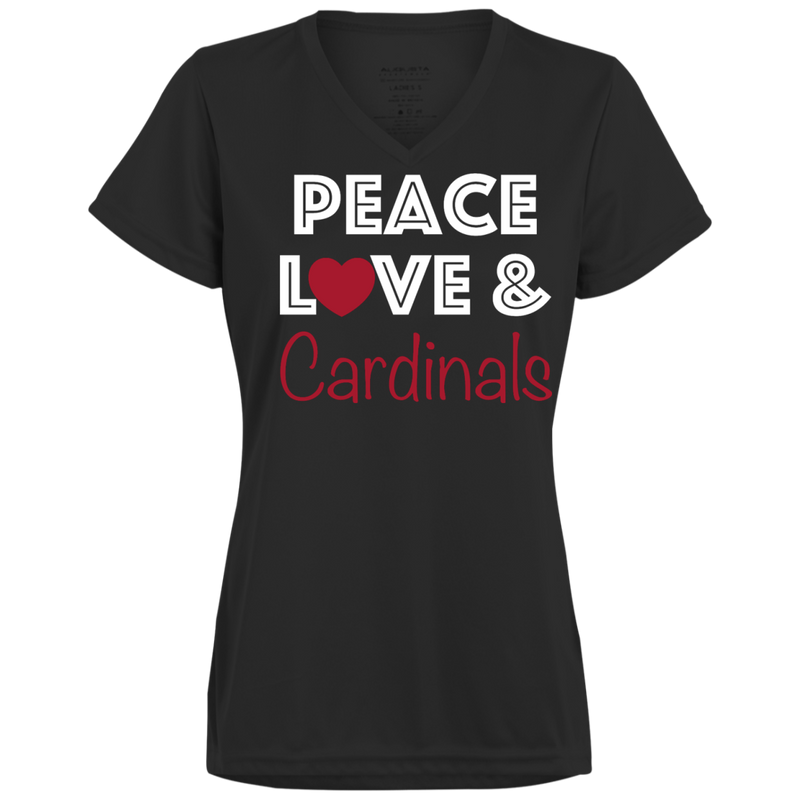 Ladies Black Peace Love Cardinals Wicking T-Shirt