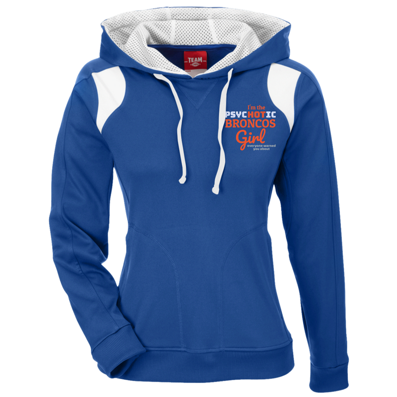Ladies Psychotic Blue Broncos Colorblock Poly Hoodie