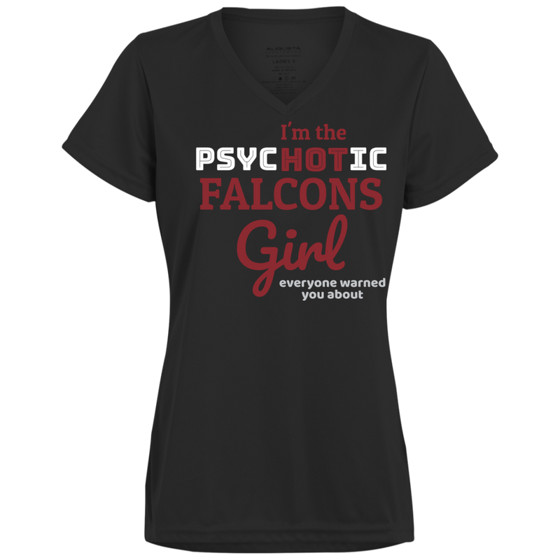 Ladies Black Psychotic Falcons Wicking T-Shirt