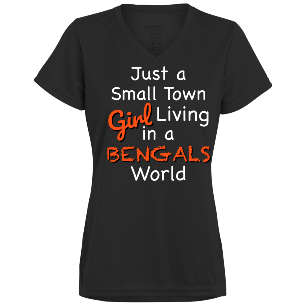 Ladies Small Town Black Bengals Wicking T-Shirt