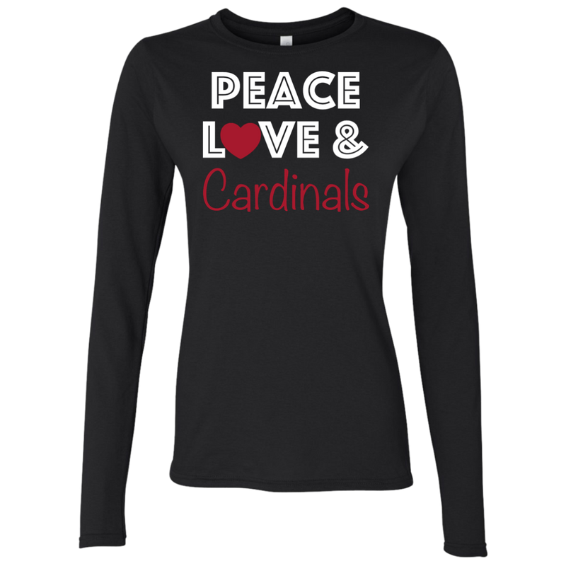 Ladies Black Peace Love Cardinals Softstyle LS T-Shirt