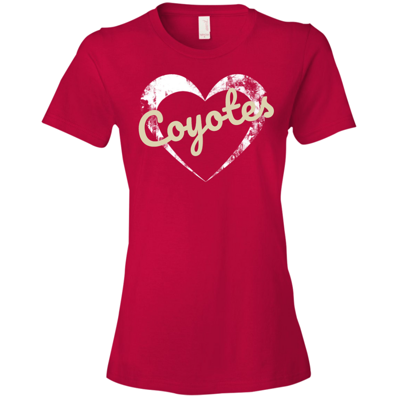 Ladies Heart Red Coyotes T-Shirt