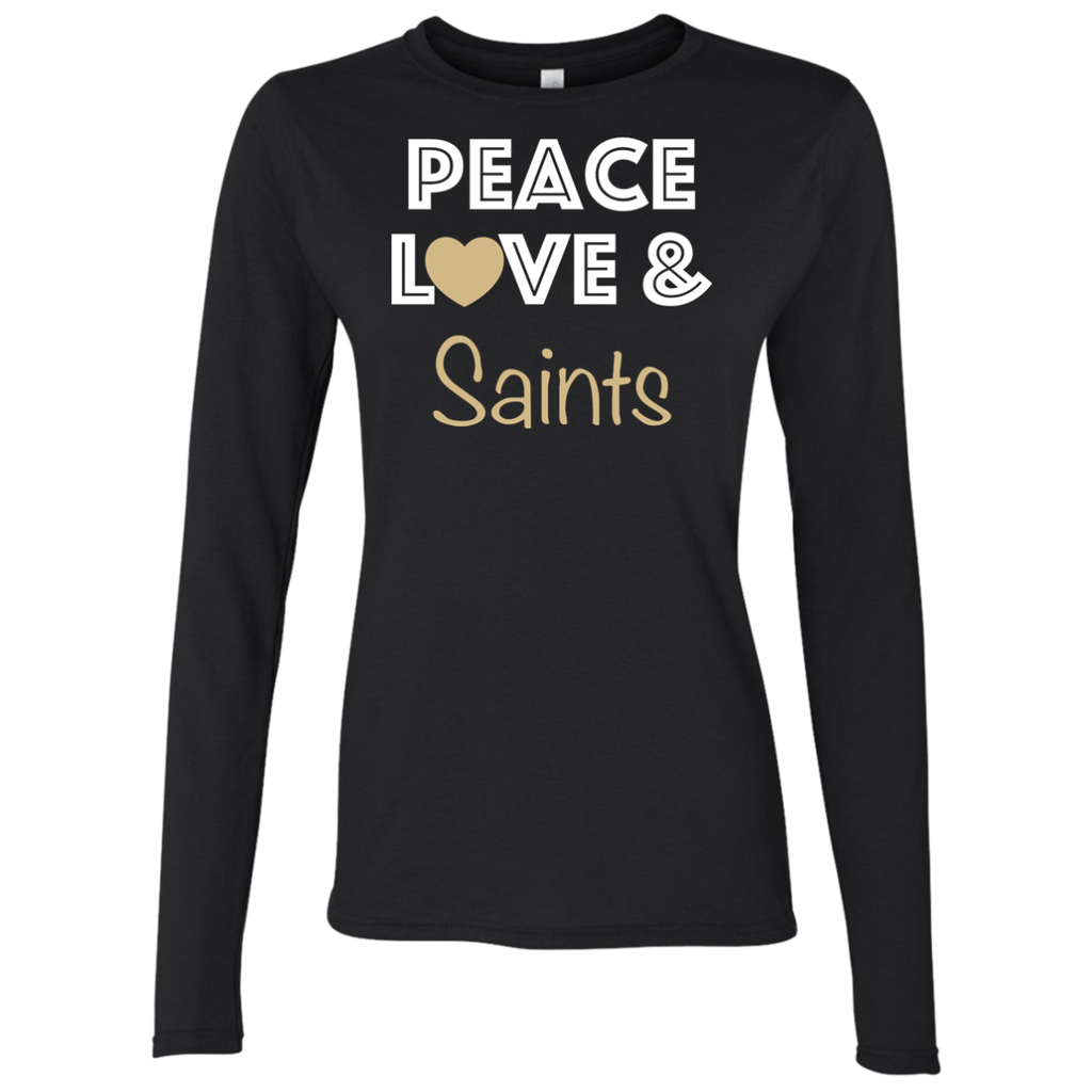 Ladies Peace Love Black Saints LS T-Shirt