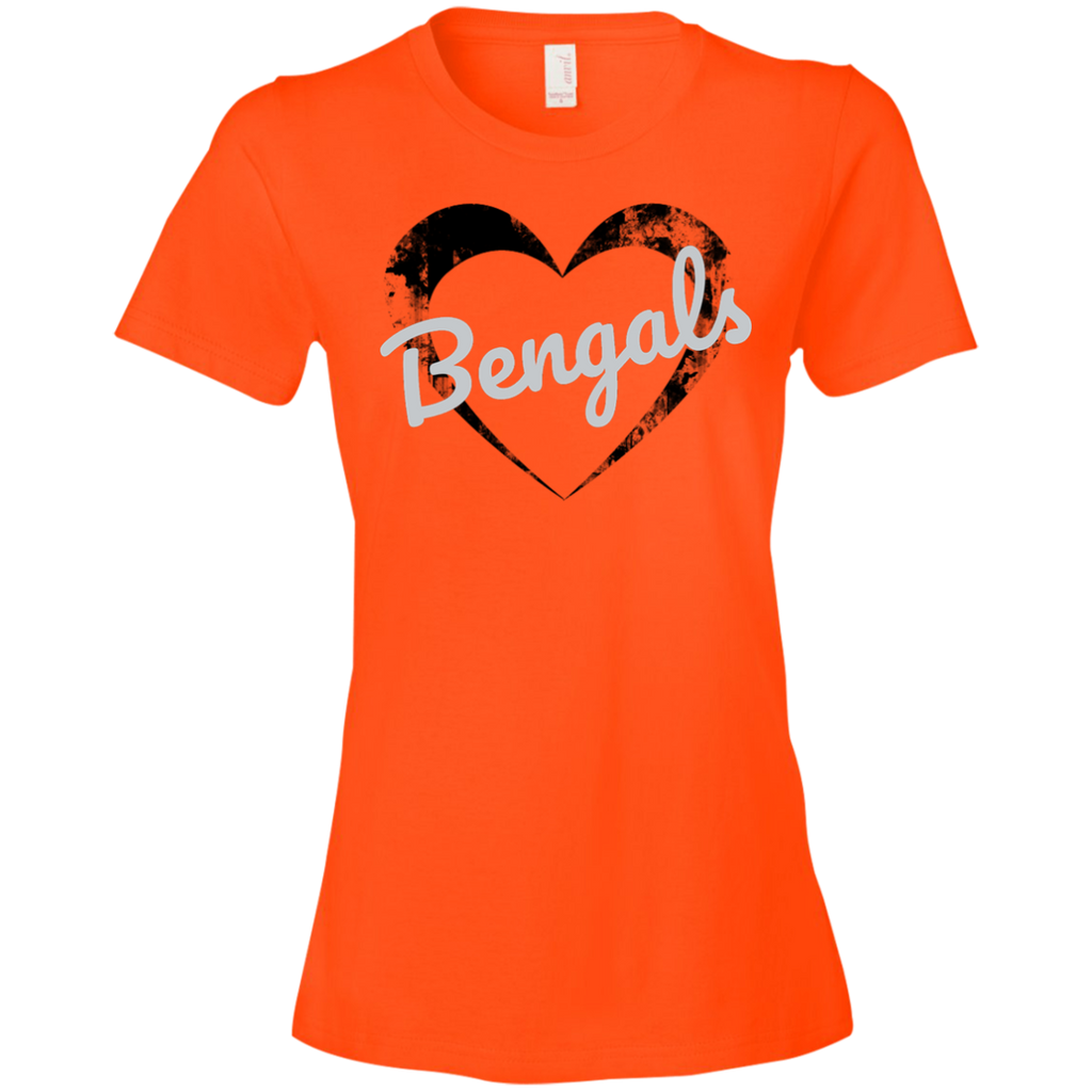 Ladies Orange Bengals Heart T-Shirt