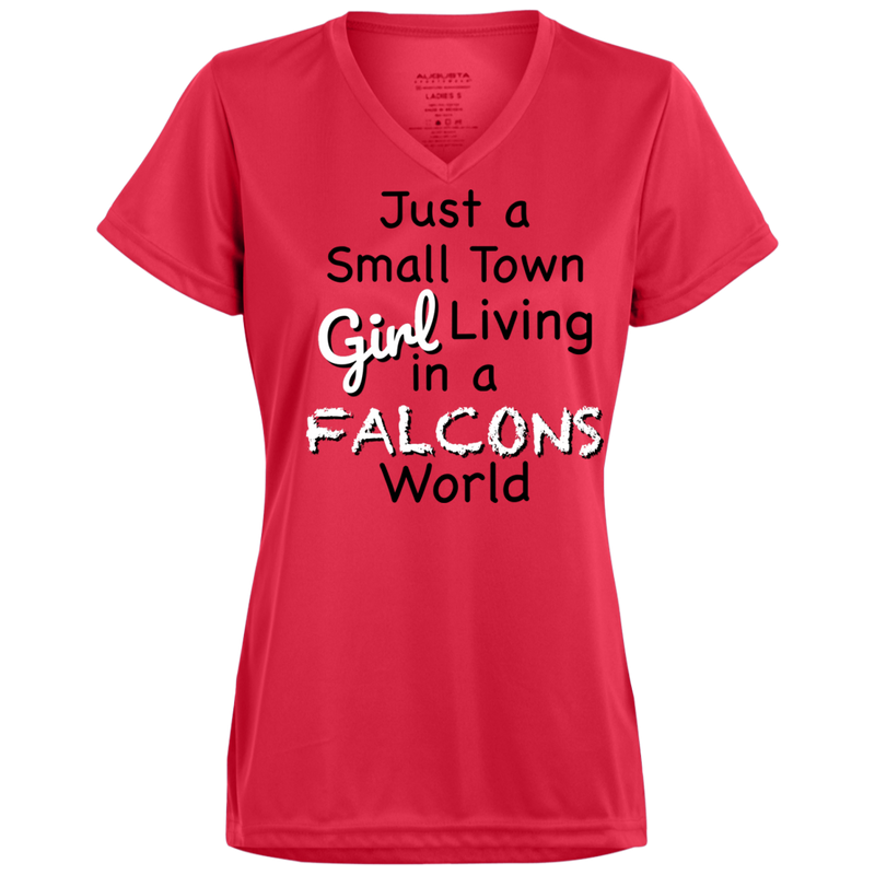 Ladies Small Town Red Falcons Wicking T-Shirt