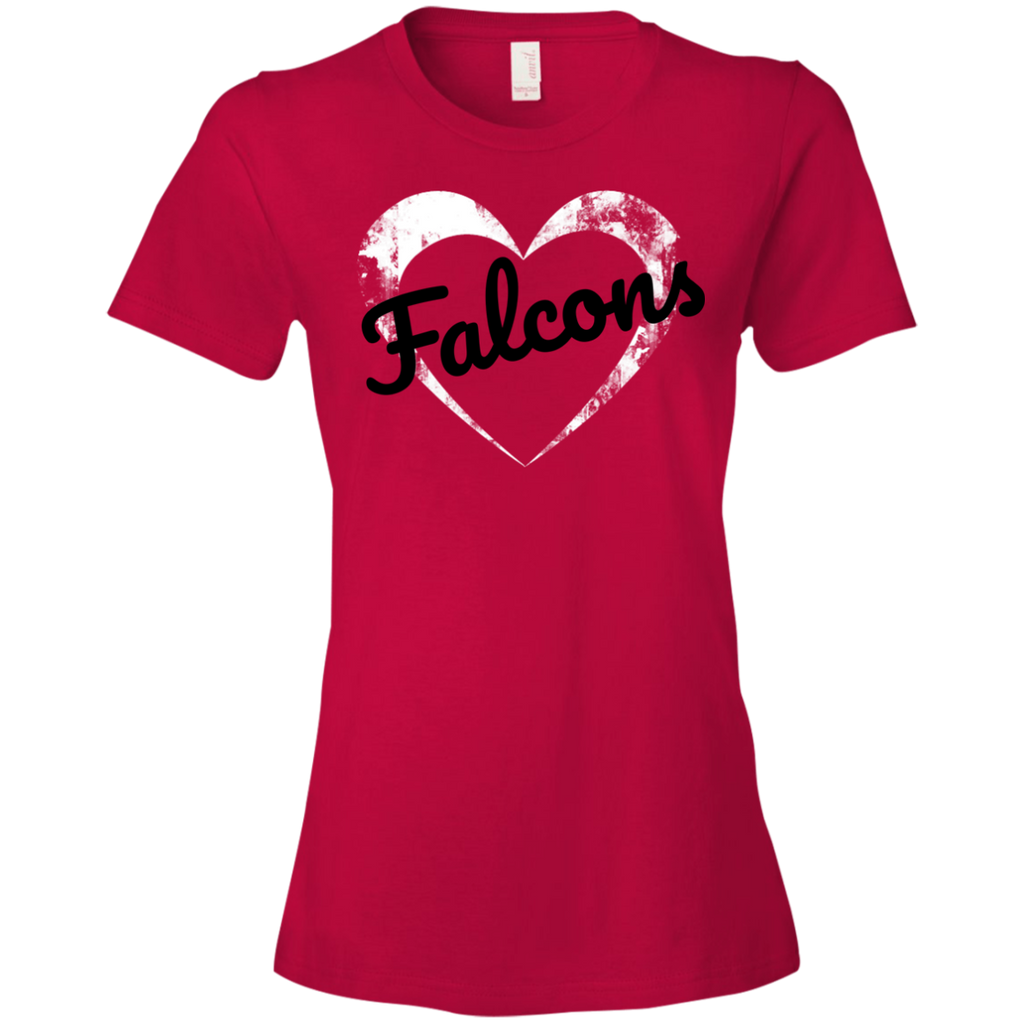 Ladies Red Falcons Heart T-Shirt
