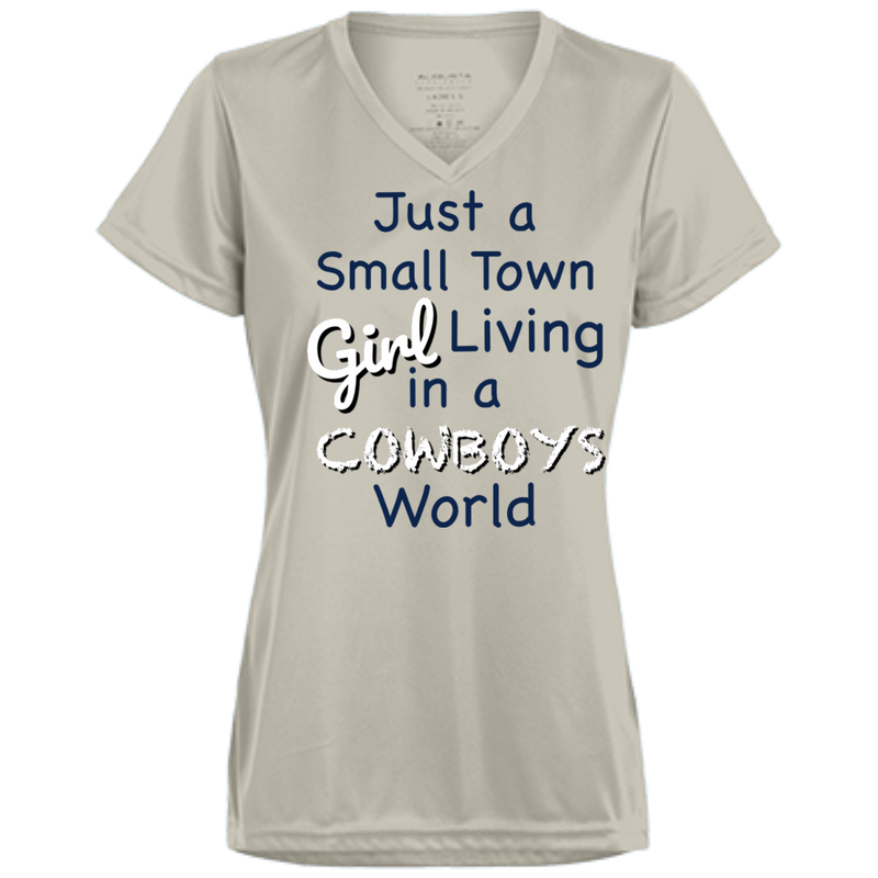 Ladies Small Town Silver Cowboys Wicking T-Shirt