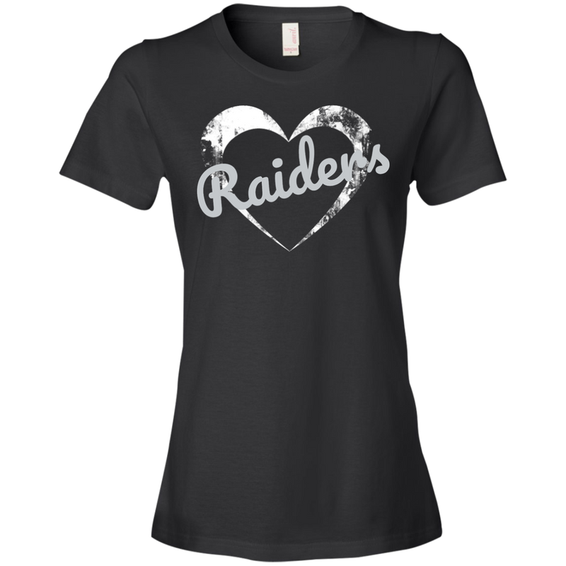 Ladies Black Raiders Heart T-Shirt