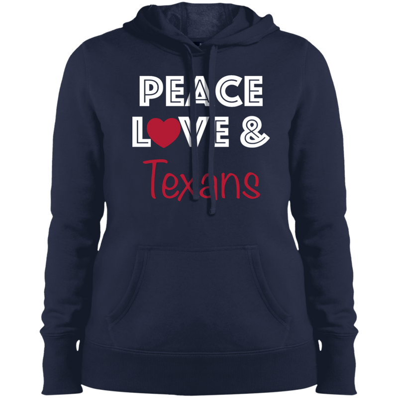 Ladies Navy Peace Love Texans Pullover Hooded Sweatshirt
