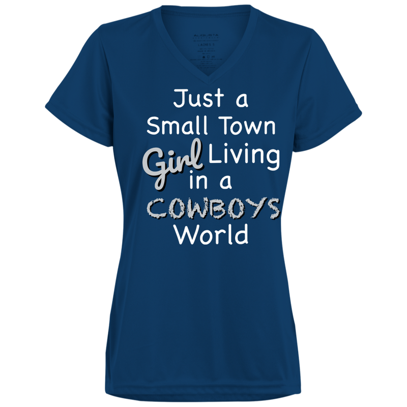 Ladies Small Town Navy Cowboys Wicking T-Shirt
