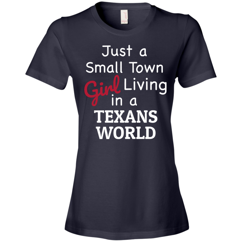 Ladies Navy Texans Small Town T-Shirt