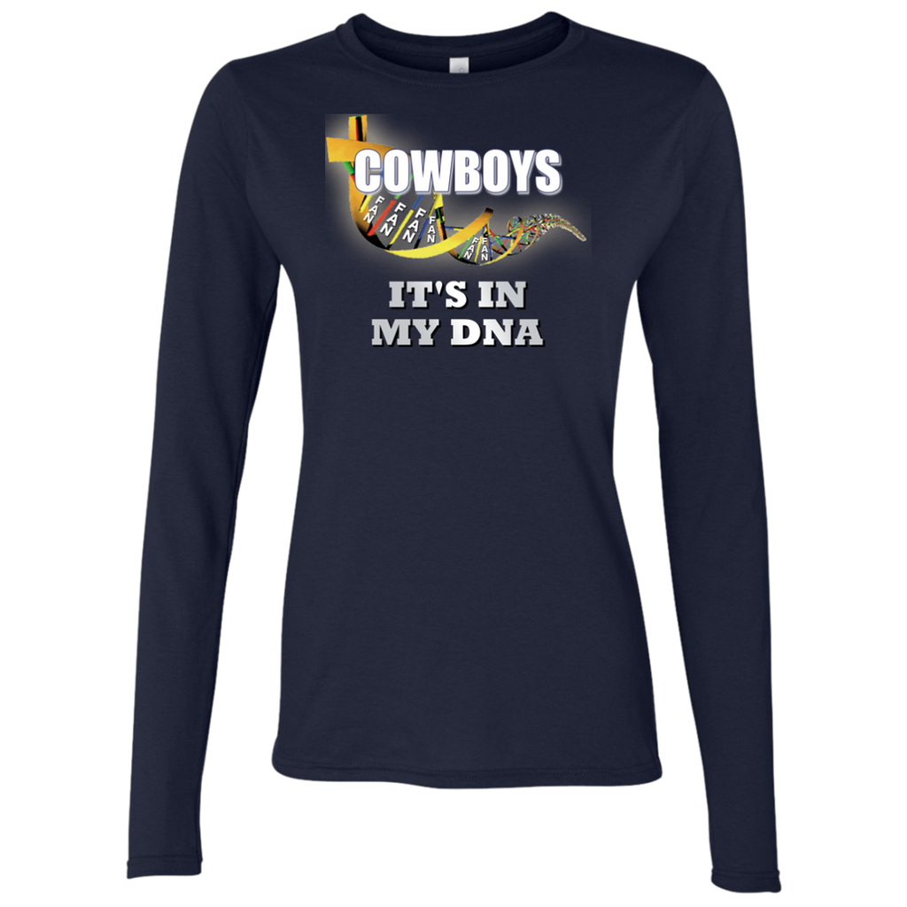 Ladies DNA Navy Cowboys LS T-Shirt