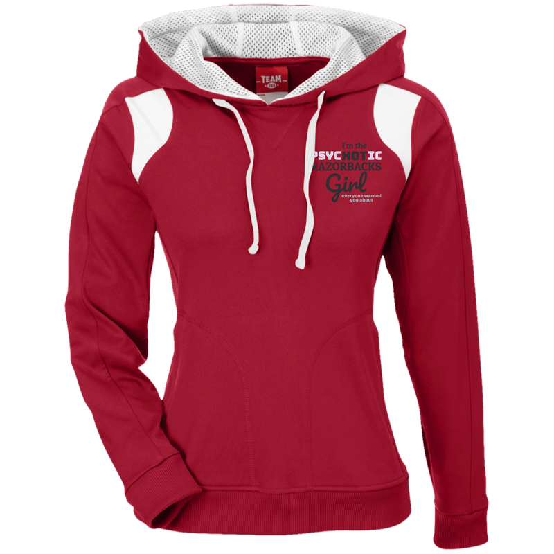 Ladies Red Psychotic Razorbacks Colorblock Poly Hoodie