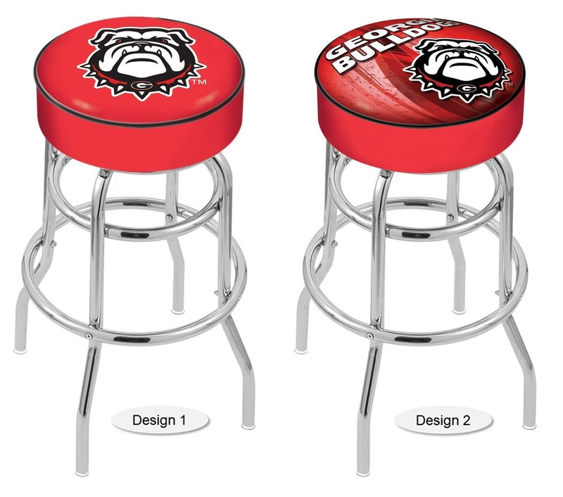 Georgia Bulldogs Dog Retro Chrome Bar Stool
