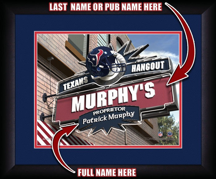 Houston Texans NFL Personalized Pub Print - Sports Fans Plus  - 1
