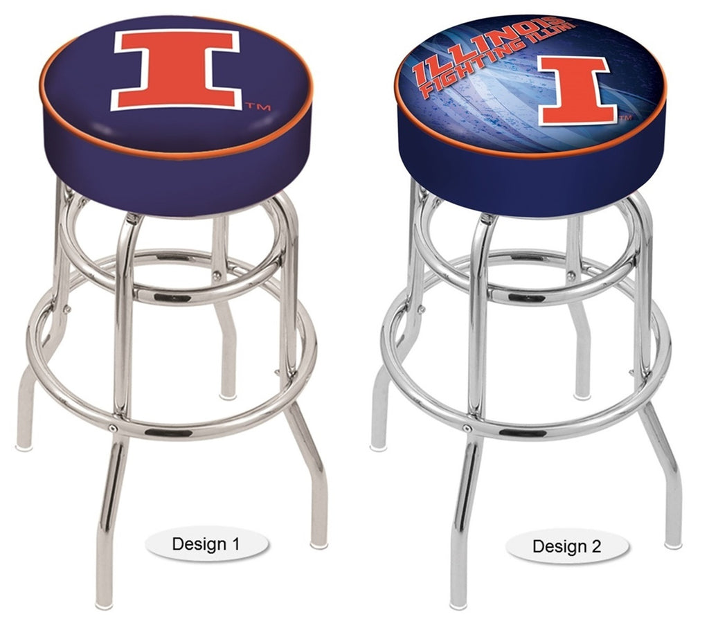 Illinois Fighting Illini Retro Chrome Bar Stool