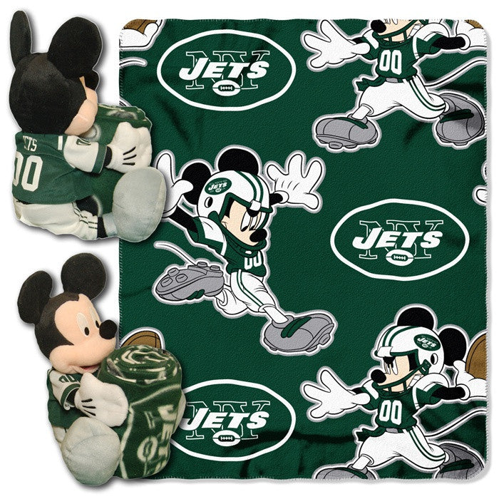New York Jets NFL Mickey Mouse Hugger with Throw - Sports Fans Plus