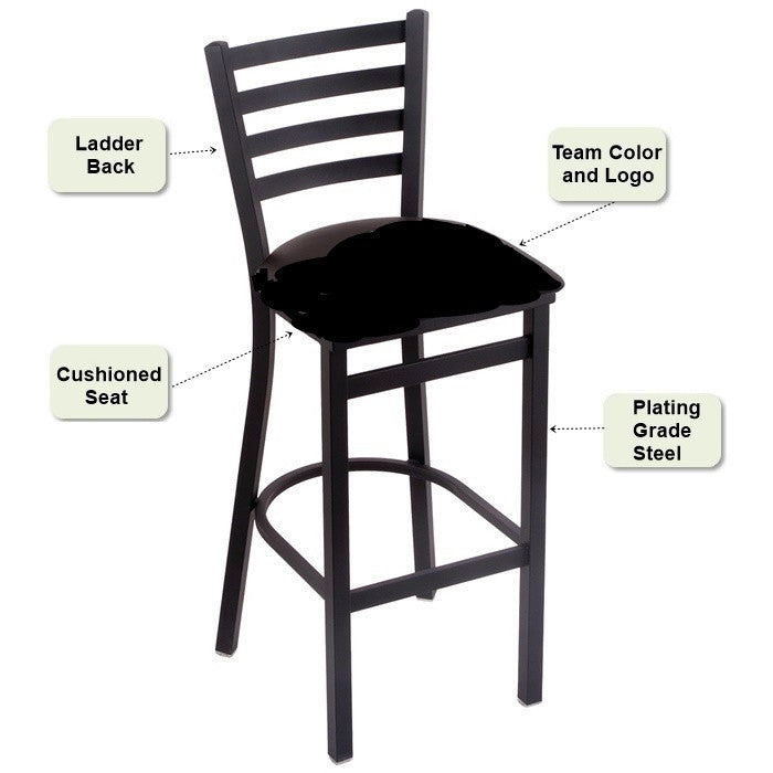 Stationary Ladder Back Bar Stool Features