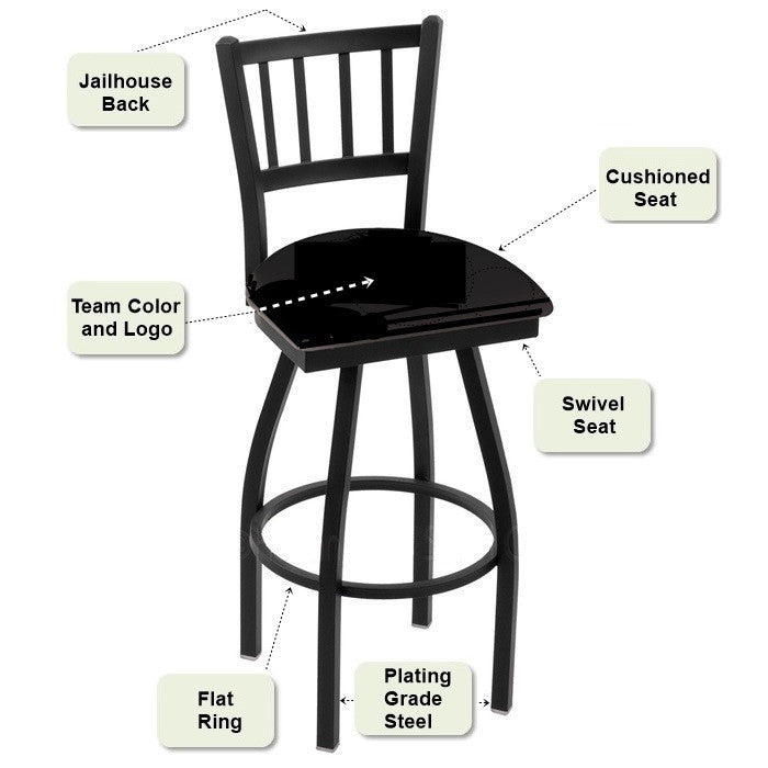 Jailhouse Back Bar Stool Features