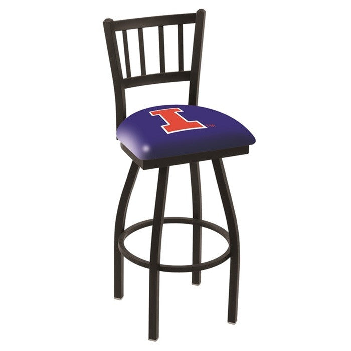 Illinois Fighting Illini Bar Stool with Back - Sports Fans Plus