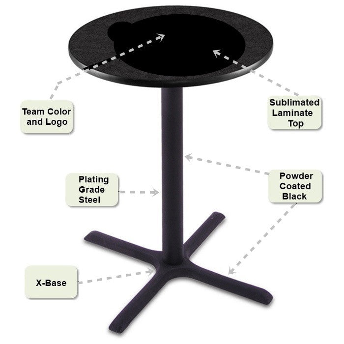 Black X-Base Pub Table Features