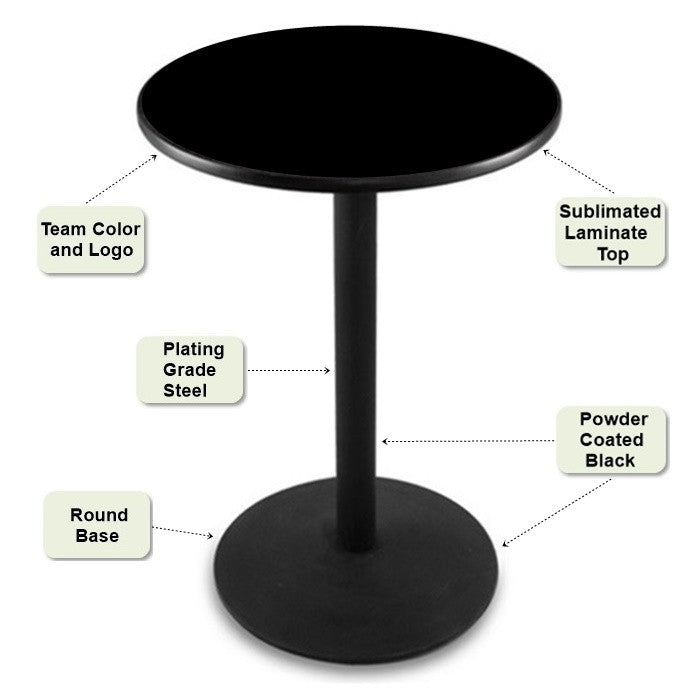 Black Round-Base Pub Table Features