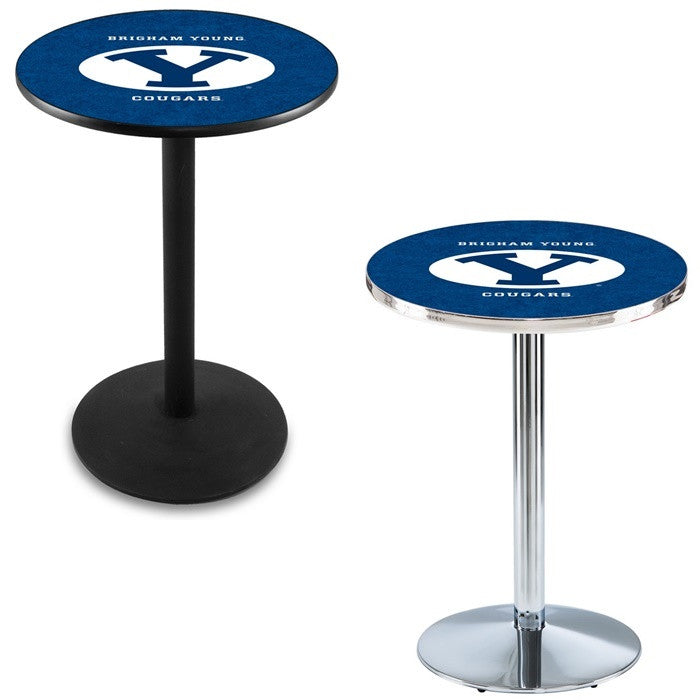 Brigham Young Cougars Round-Base Pub Table - Sports Fans Plus