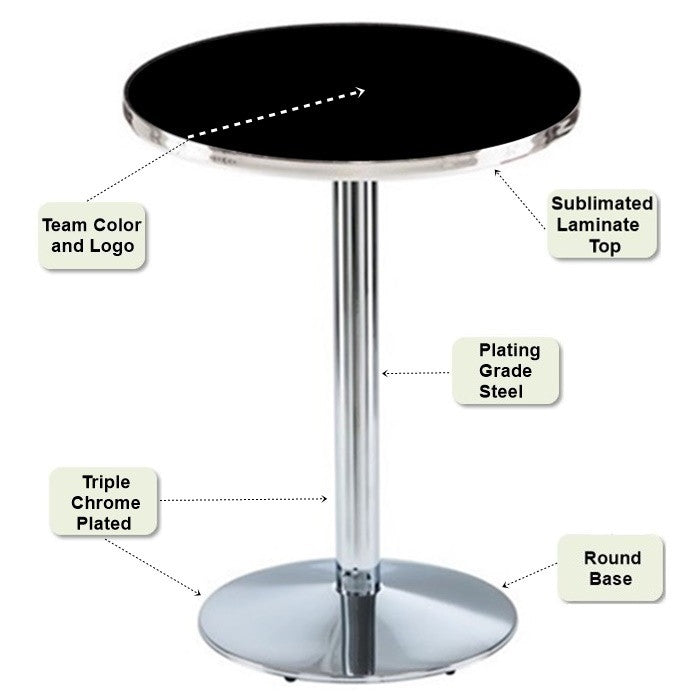 Chrome Round-Base Pub Table Features