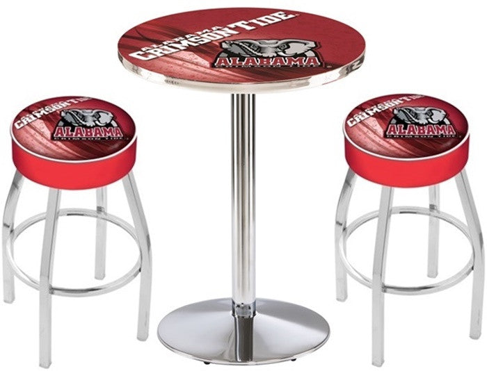 Alabama Crimson Tide Elephant D2 Chrome Pub Table Set